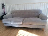 4 seater light Grey Fabric Sofa with matching Footstall and Chair