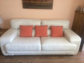 2 and 3 seater leather sofas (cream)