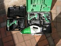 Hitachi 18v drill set x 3 drills plus 18v Hoover