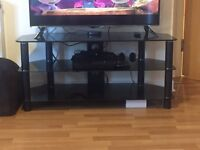 Black glass TV stand £15 under a year old.