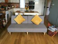 New hardly used gorgeous soft grey mid century style sofa bed FREE DELIVERY