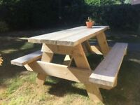 Wooden garden/pub bench table