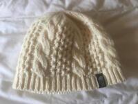 North face cream woolen hat