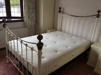 Double bed metal white/cream