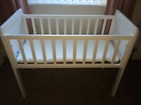 White Crib with Matress & Pink Bedding Bundle