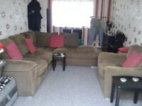 Brown, Fabric Corner Sofa with Matching Chair