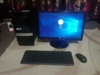 HP Slimline small factor desktop PC with 19 inch HP LCD Widescreen Monitor, WiFi, Windows 10