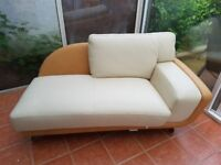 Chaise longue Sofa Cream Leather