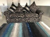 EX DISPLAY TIGER PRINT BLACK GOLD 3 THREE SEATER FABRIC DESIGNER SOFA SUITE - DELIVERY AVAILABLE