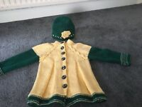 Knitted cardigan and hat , size 1-2 years old, new