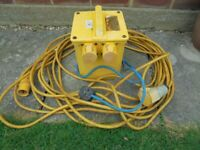 110 volt Transformer 3.5 kva Dual socket for power tools, with 18m yellow extension lead.