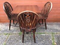 Lovely Solid Oak Wood 3 Chairs and Kitchen Table