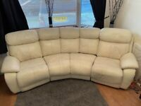 Cream leather 4 piece curved recliner sofa and 2 seater recliner