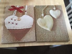 2 heart canvases