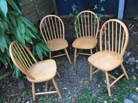 4 Wooden chairs, good condition all for £20