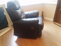 Black leather sofa and chair recliners