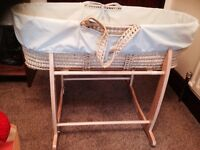 Blue Clair de lune Moses basket with stand