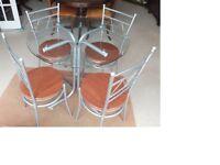 CIRCULAR GLASS TABLE & 4 CHAIRS 900DIA