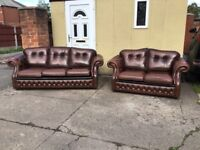 ANTIQUE BROWN LEATHER CHESTERFIELD SUITE IMMACULATE CONDITION REAL LEATHER £899 CAN DELIVER