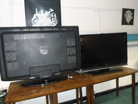 LG & BAIRD TWO FLATSCREEN LCD FREEVEIW TELEVISIONS 55 INCH & 42 INCH BOTH WORKING NEED SCREEN ECCLES