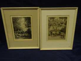 Pair framed F Dean black and white sketches [56x47]cm