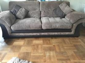 2 x 3 seater brown fabric sofa - 1 year old!