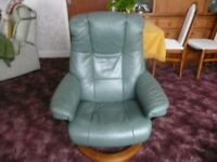 Sofa, 2 Chairs plus 2 Foot Stools. Green Leather Recliners (Stressless) Good Condition