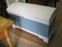 ANTIQUE LARGE SOLID PINE DOMED CHALK PAINTED CHEST/TRUNK. VIEWING/DELIVERY POSSIBLE