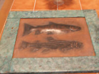 Large heavy Vintage copper plaque with engraved fish.