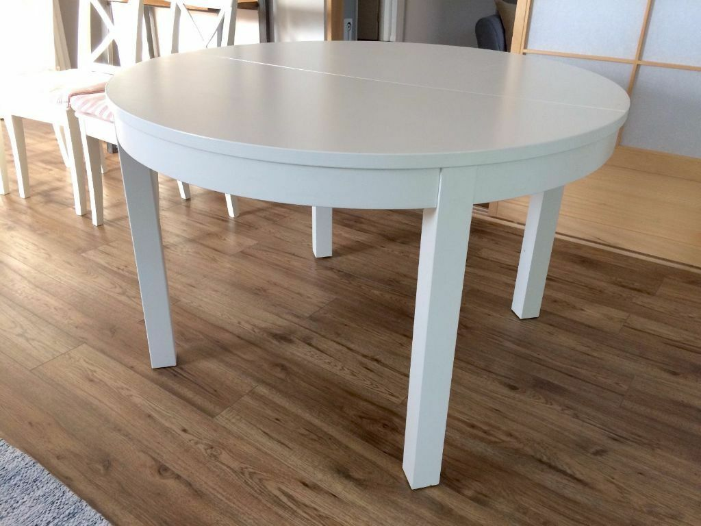 Extendable dining table round ikea bjursta white in beckenham london gumtree - Ikea round extendable table ...