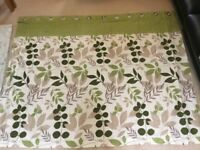 Lined curtains cream and green