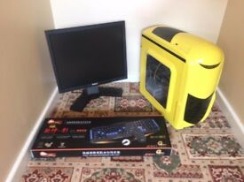 Budget Gaming Computer PC with monitor, accessories (dual core, 3GB, 160GB, GT 630 2GB Graphics)