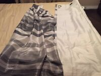 Coloroll designer curtains silk fully lined thick black silver n grey stripes never used 66x 54