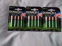 AA RECHARGEABLE DURACELL BATTERIES 3 PACKS RECHARGE ULTRA,LAST UPTO 5 YEARS