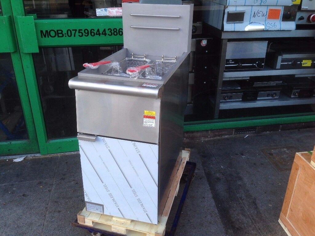CATERING COMMERCIAL NEW GAS FRYER TWIN BASKET CAFE KEBAB CHICKEN BBQ RESTAURANT SHOP BAR KITCHEN