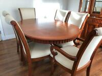 Mahogany display unit with matching table and chairs and chairs