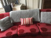 Vintage g plan 4 seater curved sofas and chair