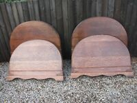 TWO PAIRS OF MATCHING ANTIQUE SOLID WOODEN BED ENDS HEADBOARDS