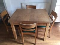Art Deco Extending Wooden Dinning Table & 4 Chairs NEW LOWERED PRICE