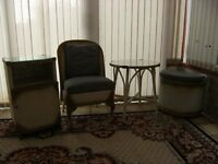 LLOYD LOOM STYLE VINTAGE 4 PIECE BEDROOM SET, CHAIR, TABLE, BEDSIDE CABINET, LINEN BASKET.