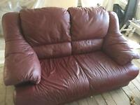 Red tan real leather 2 seater sofa