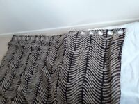 Curtains (pair) - Black and camel colour - fully lined