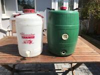 Two Fermenting barrels one green one white