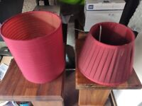 2 x red lamp shades