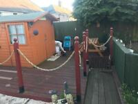 Decking and two wooden fences