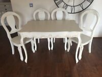 Shabby chic dining table and four chairs