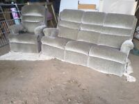 Three Seater Settee and Rise And Recline Sherborne Chair