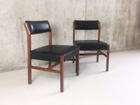 set 6 Danish mid century 1970's black vinyl dining chairs (6 available)