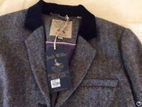 Jack willssize 14 blue tweed jacket / blazer ,velvet trim new tags still on ,never worn