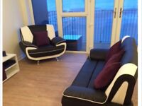 Modern and Stlish Black and White leather sofa and matching chair